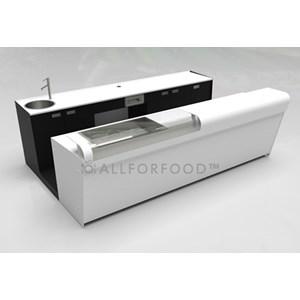 BANCO BAR y RETROBANCO - MOD. START UP L2000 H951 - N. 2 Compartimientos con refrigeración VENTILADA - Alimentación monofásica 230v/50hz - Con unidad condensadora INCORPORADA - ESPACIO PARA CAFETERA - Lavabo con mezcaldor monopalanca - Medidas totales cm A 200 x F 232,5 x h 95,1