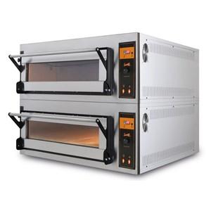 HORNO ELÉCTRICO PARA PIZZA, PAN Y PASTELERÍA - Mod. US 4 - N. 1 cámara - Piso Refractario o Techo y Piso refractarios - Estático - Bajos consumos - Válvula de regulación de la humedad - Medidas de la cámara cm L 83 x P 84 x h 18 - N. Pizzas 4 (Ø cm 40) - N. 2 bandejas 60x40cm - Potencia 6,9 Kw - Alimentación Trifásica 400v - Homologación CE