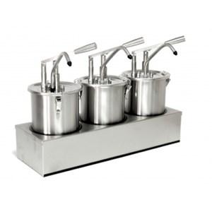 DISPENSADOR INDIVIDUAL PARA SALSAS - Mod. DIS B1 - De acero inox aisi 304 - Adapto para salsas frías y densas - Capacidad lt 3 - Porción de salsa 30 ml regulable - Medidas cm A 18 x F 16,5 x 33h - Homologación CE