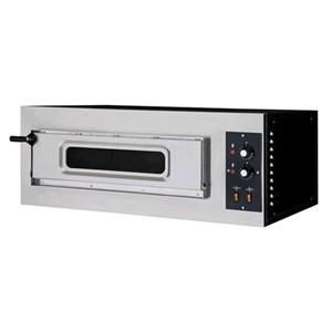 HORNO ELÉCTRICO MECÁNICO PARA PIZZA - Mod. BASIC 1/50  - N. 1 cámara - Superficie de cocción con piedras refractarias - Medidas de la cámara cm  A 62 x F 50 x 12 h - N. Pizza 2 (Ø cm 32) - Potencia 5 Kw - Homologación CE