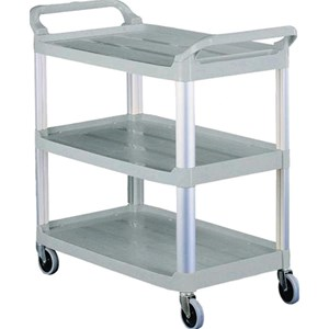 CARRO DE SERVICIO MULTIUSO TRES PISOS - MOD. CP1008 - Estructura de plástico con montantes de aluminio anodizado - Medidas cm A 85 x F 43 x h 95