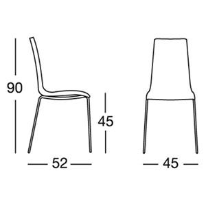 SILLA MANNEQUIN - MOD. 2660 - Estructura de 4 patas de tubulares de acero cromado - Carcasa de POLIPROPILENO RECICLABLE reforzado con FIBRAS DE VIDRIO -  Para INTERIORES - APILABLE - Med. cm L 45 x P 52 x H 90 - Homologación CE