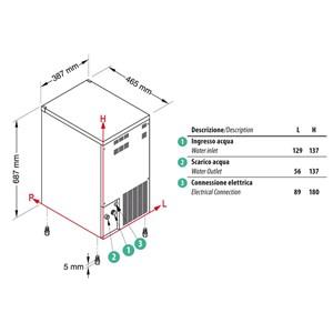 FABRICADOR DE HIELO EN CUBITOS LLENOS con SISTEMA SPRAY - Cod. TM60 - Tipo de cubito S/M/L/E - Cubitos de gr. 14/17/32/41 - PRODUCCIÓN hasta kg 32/24 h - Medidas cm  L 38,7 x P 46,5 x H 68,7 - Norma CE