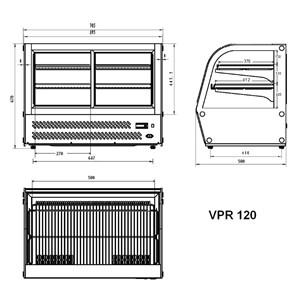 MOSTRADOR DE SOBREMESA REFRIGERADA SNACK DE ACERO INOX AISI 430 - CRISTAL CURVO - Mod. G-VGP120 - CAPACIDAD Lt 120 - TEMPERATURA +2°/+8°C - Alimentación monofásica 230V/1/50Hz - Potencia W 160 - Medidas cm A 69,5 x F 58 x h 67 - Peso Kg 70