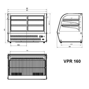 MOSTRADOR DE SOBREMESA REFRIGERADA SNACK DE ACERO INOX AISI 430 - CRISTAL CURVO - Mod. G-VGP160 - CAPACIDAD Lt 160 - TEMPERATURA +2°/+8°C - Alimentación monofásica 230V/1/50Hz - Potencia W 160 - Medidas cm A L 87,3 x F 58 x h 67 - Peso Kg 75