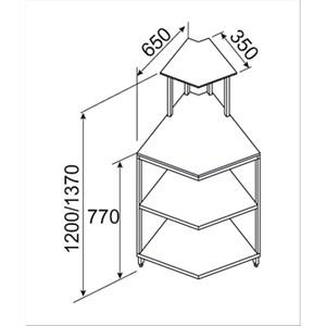 MOSTRADOR PIZZA BAR Y GASTRONOMÍA NEUTRO - Angulo interior escuadrado de 45° - SEMIACABADO, por panelar - MOD. BNA4520231 - CRISTALES ALTOS - Medidas Cm L 65 x P 65 x h 137 - Homologación CE