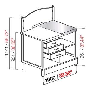 Mostrador de LOTERÍAS / APUESTAS / ESTANCOS - SEMIACABADO - Longitud 100cm - MOD. CX91/10P - Con Encimera inox o con predisposición para Encimera de mármol/granito/aglomerado -  Medidas cm L 100 x P 72,8 x h 144,1