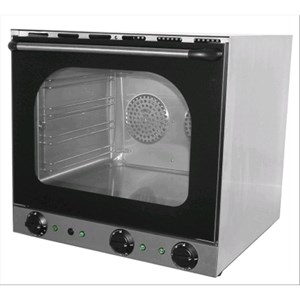 HORNO ELÉCTRICO DE CONVECCIÓN CON HUMIDIFICADOR - Mod. S 4 - Para gastronomía, panadería y pastelería - Estructura interior y exterior de acero inox - Capacidad n. 4 bandejas de aluminio cm 44x31,5 - Potencia W 4670 - Alimentación monofásica - Medidas cm A 59,5 x F 57 x 57h - Homologación CE