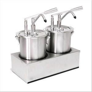 DISPENSADOR DOBLE PARA SALSAS  - Mod. DIS A2 - De acero inox aisi 304 - Adapto para salsas frías, densas, miel - Capacidad lt 5 x 2 - Porción de salsa ml 40 x 2  regulable - Medidas cm A 40,5 x F 20,5 x 43,5h - Homologación CE