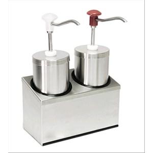 DISPENSADOR CILÍNDRICO DOBLE PARA SALSAS - Mod. DIS C2 - De acero inoxidable - Adapto para salsas frías, densas, miel - Capacidad lt 2,25 x 2 - Porción de salsa ml 30 x 2 regulable - Medidas cm A 29 x F 14,5 x 47h - Homologación CE