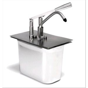DISPENSADOR INDIVIDUAL PARA SALSAS EMPOTRABLES - Mod. DIS L1 - Cubeta GN 1/4 cm 20h - Adapto para salsas de alta viscosidad, densas y frías - Capacidad lt 5 - Porción de salsa 40 ml regulable - Medidas cm A 24 x F 14 x 35h - Homologación CE