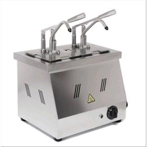 DISPENSADOR PARA SALSAS en BAÑO MARÍA - Mod. DIS N2 - Cubetas GN 1/6 200h - Adapto para salsas de alta viscosidad, densas y frías - Porción de salsa 40 ml regulable - N. 2 bombas - Potencia W 1500 -Medidas cm A 40,5 x F 20,5 x 43,5h - Peso Kg 8 - Homologación CE