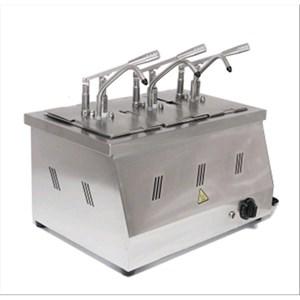 DISPENSADOR PARA SALSAS en BAÑO MARÍA - Mod. DIS 03 - Cubetas GN 1/4 200h - Adapto para salsas de alta viscosidad, densas y frías - Porción de salsa 40 ml regulable - N. 3 bombas - Potencia W 2200 - Medidas cm A 60,5 x F 265 x 43,5h - Peso Kg 11 - Homologación CE