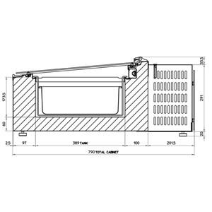 EXPOSITOR de MESA REFRIGERADO - MOD. CREAM 2V GREEN EMOTION - AHORRO ENERGÉTICO -11% - Capacidad LT. 28 - Refrigeración ESTÁTICA - Temperatura -10°/-22° - Medidas cm. L 49 x P 79 x h 34,5 - Homologación CE
