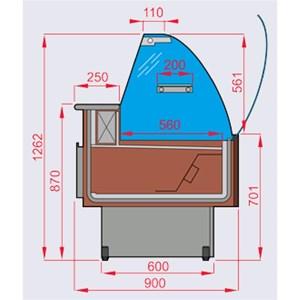 MOSTRADOR VITRINA PARA ALIMENTOS REFRIGERADO - MOD. KIBUK - SEMIVENTILADO - CRISTAL CURVO ABATIBLE HACIA ABAJO - ENCIMERA DE TRABAJO DE ACERO INOX - ESTANTE DE EXPOSICIÓN DE ACERO INOX - Temperatura mínima de trabajo °C +3/+5 - NO MODULAR - CE - PROFUNDIDAD ESTANTE EXPOSICIÓN: 56 CM