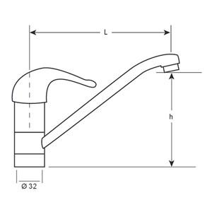 GRIFO PARA FREGADERO - MOD. MFBCS2 - MONOMANDO DE 1 AGUA - Palanca corta de metal - Caño ø 22 cm - Orificio de fijación ø 32 mm