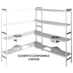 ESTANTERÍA de ALUMINIO ANODIZADO - ELEMENTO MODULAR - MOD. RF / C - N. 4 ESTANTES - Posibilidad de colocar cubetas GN de 1/2, 1/1, 2/1 y 2/3 - Estanterías diseñadas para soportar grandes cargas con la mínima flexión - Disponible con 3 ALTURAS: cm 150 / 170 / 200 h - NO PORTANTE, MONTAR JUNTO con ELEMENTO BASE