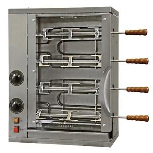 MULTIGRILL - MOD. CEV4 -  Armazón de acero inox - N. 2 resistencias blindadas independientes con regulador de energía - N. 4 + 3 espadas inox - Voltaje 230v monofásico - Potencia 3,6 KW - Medidas: cm L 58,7 X P 31,5 X 77 h - CE