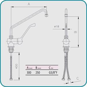 GRIFO para FREGADERO Mod. RMMLL18 - Monomando de 1 ORIFICIO - Palanca larga, caño ø 18 - Orificio de fijación de la encimera: mín/máx ø 32/35 mm