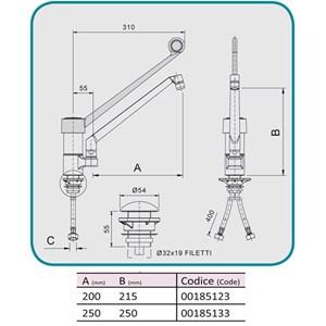 GRIFO para FREGADERO Mod. RMMBS - Monomando de 1 ORIFICIO - Caño fundido giratorio - Palanca sanitaria de color negro - Orificio de fijación de la encimera: mín/máx ø 32/34 mm