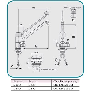 GRIFO para FREGADERO Mod. RMMAD40 - Monomando de 1 ORIFICIO - Con empalme para ducha - Palanca larga - Orificio de fijación de la encimera: mín/máx ø 32/34 mm