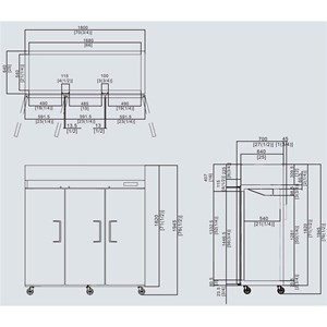 ARMARIO FRIGORÍFICO COMPACTO DE ACERO INOX - Mod. YBF9237 - VENTILADO - Capacidad LT 1390 - N. 3 Puertas - TEMPERATURA -2°/+8°C - Dim. cm L 180 x P 74 x h 195 - CE