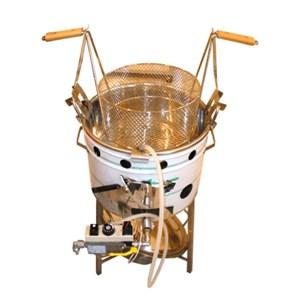 CUECECASTAÑAS Y FREIDORA DE BUÑUELOS DE GAS CON SOPORTE - MOD. CASTAFRIT 2 IN 1 - Una máquina para cocer castañas y una para freir buñuelos - Sartén de cocción de hierro - Dimensiones cm L 60 X P 45 X H 85 - CE