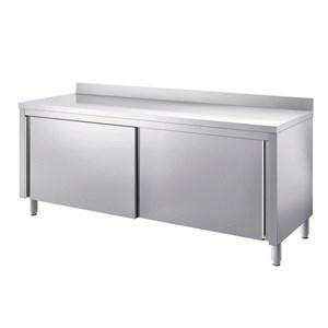 Mesa de trabajo Inox, con armario y puertas correderas - encimera de 4 cm de espesor - con peto posterior
