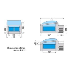 EXPOSITOR DE SOBREMESA PARA HELADOS - MOD. ICE POINT 2 - CAPACIDAD Lt 10 - REFRIGERACIÓN ESTÁTICA - TEMPERATURA -10° / -25° C - Dimensiones Cm L 47,5 x P 71,6 x h 39,4 - PESO Kg 28