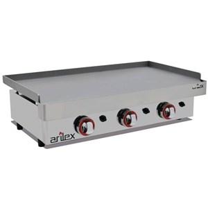 Plancha de Gas de acero laminado 6mm - mod. 80PGL - Potencia 9,6 kw - Superficie útil AxF 800x400 mm - Quemadores: nº 3 - Dimensiones A 810 x F 457 x H 240 mm - Peso 24 kg - CE