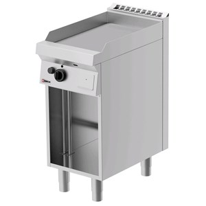 PLANCHA FRY TOP DE GAS - MOD. FRG71OE - Placa lisa - Mueble abierto - Potencia kW 5,5 - Dimensiones: cm L 40 x P 70 x H 90 - CE