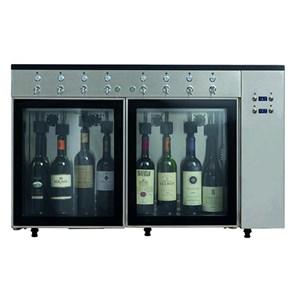 DISPENSADOR DE VINO - Mod. VINO 6 - Plug & Play - Estructura de acero inox AISI 304 - Capacidad: N. 6 botellas colocadas en línea, dos compartimentos de N. 3 botellas cada uno - Alimentación 220/240V-50 Hz - Dimensiones cm L 84,5 x P 38 x 64,1 h