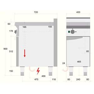 BAÑO MARÍA ELÉCTRICO - MOD. BME71O0 - Capacidad de cubetas: n. 1 GN 1/1 H15 - Compartimento abierto - Monofásico - Dimensiones: cm L 40 x P 70 x H 90 - CE