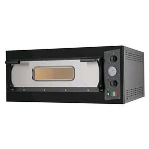 HORNO DE PIZZA ELÉCTRICO - Mod. BLACK 6 - N. 1 camera - Superficie de cocción de piedra refractaria - Dimensiones de la cámara cm L 66 x P 99 x h 14 - N. Pizzas 6 (Ø cm 33) - Potencia 7.0 Kw - CE