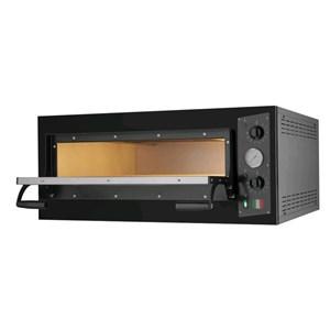 HORNO DE PIZZA ELÉCTRICO - Mod. BLACK 4 - N. 1 camera - Superficie de cocción de piedra refractaria - Dimensiones de la cámara cm L 66 x P 66 x h 14 - N. Pizzas 4 (Ø cm 33) - Potencia 4,7 Kw - CE