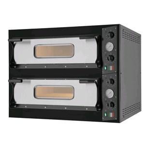 HORNO DE PIZZA ELÉCTRICO - Mod. BLACK 44 - N. 2 cámaras - Superficie de cocción de piedra refractaria - Dimensiones de la cámara cm L 66 x P 66 x h 14 - N. Pizzas 4+4 (Ø cm 33) - Potencia 9.4 Kw - CE