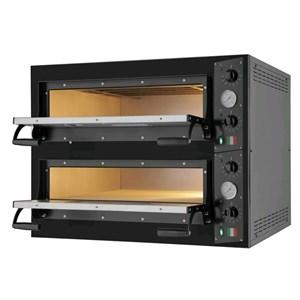 HORNO DE PIZZA ELÉCTRICO - Mod. BLACK 66 - N. 2 cámaras - Superficie de cocción de piedra refractaria - Dimensiones de la cámara cm L 66 x P 99 x h 14 - N. Pizzas 6+6 (Ø cm 33) - Potencia 14.4 Kw - CE