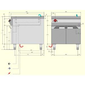 BAÑO MARÍA ELÉCTRICO - MOD. BME92M0 - Capacidad de cubetas: n. 1 GN 2/1 H15 + n. 1 GN 1/3 H15 + n. 1 Ggn 1/3 H15 - Compartimento abierto - Trifásico - Dimensiones: cm L 80 x P 90 x H 90 - CE
