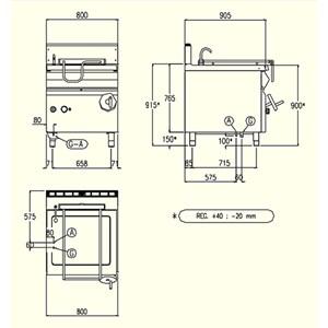 SARTÉN BASCULANTE DE GAS CON ELEVACIÓN MANUAL - MOD. BRG92MD - Cuba Lt 80 - Dimensiones cm L 80 x P 90 x H 90 - CE
