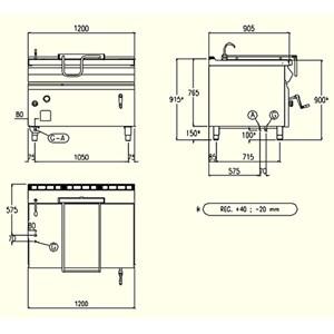 SARTÉN BASCULANTE DE GAS CON ELEVACIÓN MANUAL - MOD. BRG93MD - Cuba Lt 120 - Dimensiones cm L 120 x P 90 x H 90 - CE