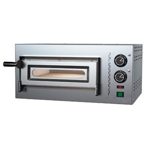 HORNO ELÉCTRICO MECÁNICO PARA PIZZA - Mod. O35/17 - N. 1 cámara - Superficie de cocción con piedras refractarias - Medidas de la cámara cm L 35 x P 35 x 17 h - N. Pizza 1 (Ø cm 30/34) - Potencia 2,2 kW - Norma CE