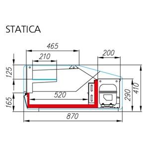 VITRINA REFRIGERADA DE SOBREMESA - Mod. ARGO 2 - ESTÁTICA - TEMPERATURA +2°/+8°C - PROFUNDIDAD ESTANTE EXPOSICIÓN cm 52 - ALIMENTACIÓN MONOFÁSICA 230V/1/50 Hz - MEDIDAS cm L 100 x P 87 x 41h