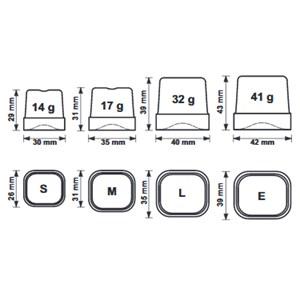 FABRICADOR DE HIELO EN CUBITOS LLENOS con SISTEMA SPRAY - Cod. TM50 - Tipo de cubito M - Cubitos de gr. 17 - PRODUCCIÓN hasta kg 28/24 h - Medidas cm L 38,7 x P 46,5 x H 60,7 - Norma CE