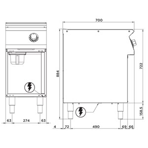 FRY TOP ELÉCTRICO CON PLANCHA LISA EN ACERO INOX - Mod. FN72GFMX - MUEBLE ABIERTO - Potencia kW 4 - Medidas cm A 40 X F 70 X H 90 - CE