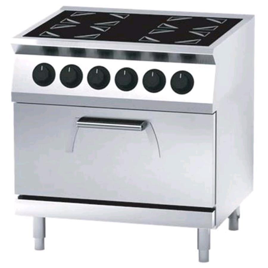 Cocina el ctrica de vitrocer mica 4 planchas con horno for Cocinas electricas con horno