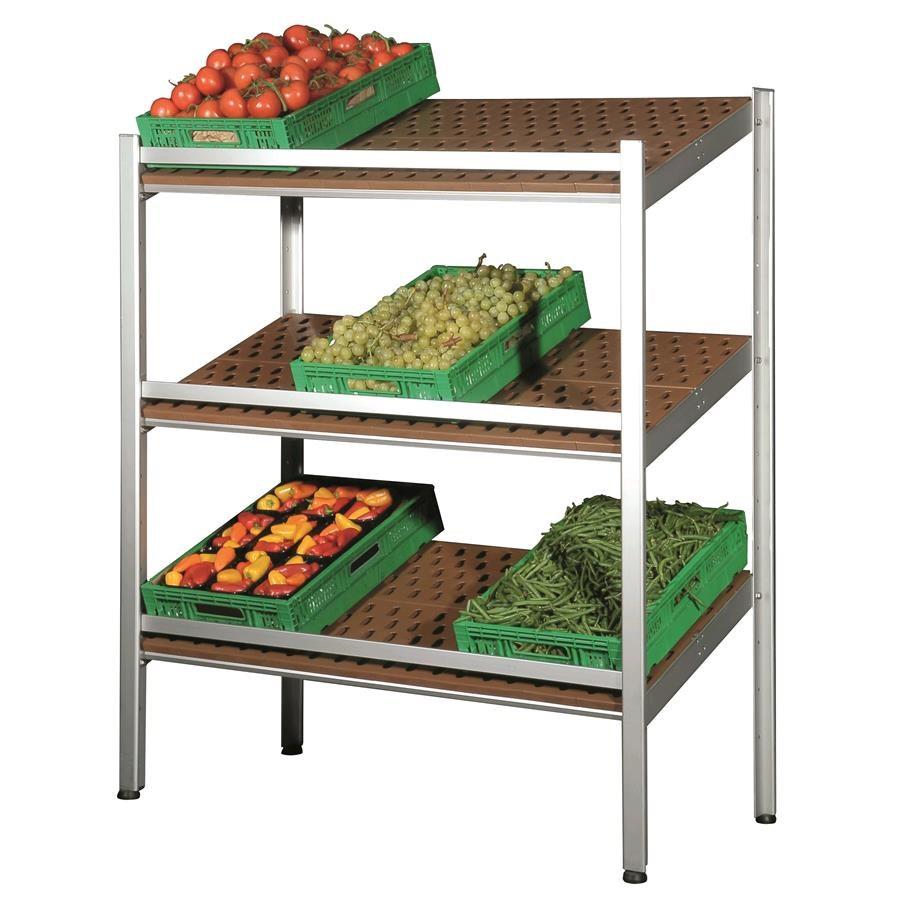 Estanter a expositora mural con baldas inclinadas para - Estanterias para fruta ...